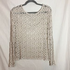 Unknown Tops - Stretch Lace Crochet Butterfly Woman's Top